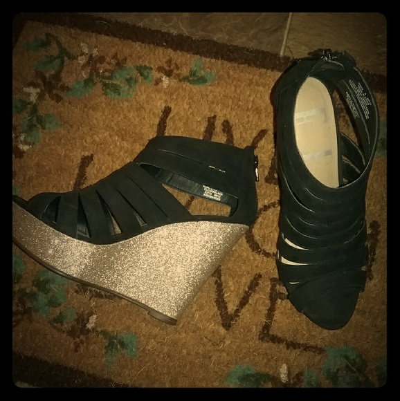 17429ff4bf62 Elle Shoes | Black And Gold Glitter Wedge Heel | Poshmark